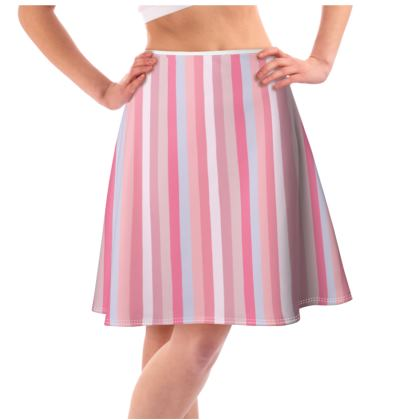 Candy stripe colour block Flared Skirt