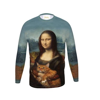 "Men ""Mona Lisa with her cat"" Long Sleeve T Shirt"