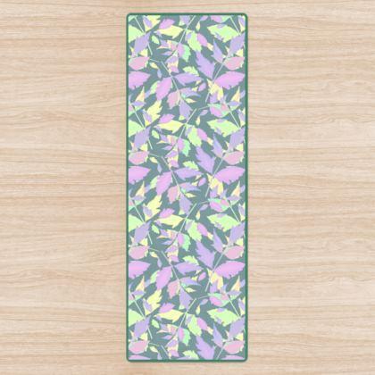 Yoga Mat, Green Grey, Pink, Leaf  Diamond Leaves  Moonglow
