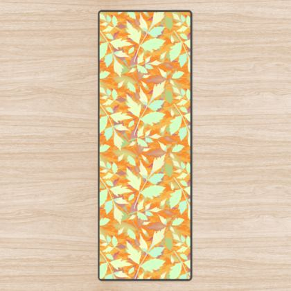 Yoga Mat, Apricot, Teal, Leaf  Cathedral Leaves  Cornfield