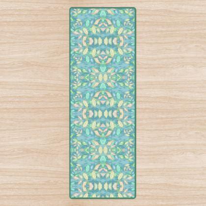 Yoga Mat, Teal, Green, Leaf  Slipstream  Teal Glade