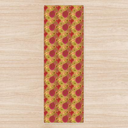 Yoga Mat, Pink, Yellow, Flower  Anemone  Golden