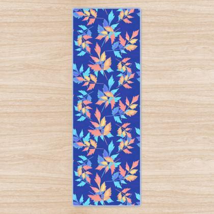 Yoga Mat, Blue, Orange, Leaf  Slipstream  Almost Winter