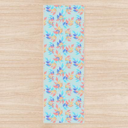 Yoga Mat, Blue, Orange, Leaf  Slipstream  Morning Swift