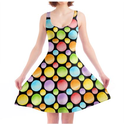 Rainbow Polka Dots Skater Dress