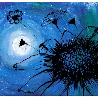 Midnight flowers pillow