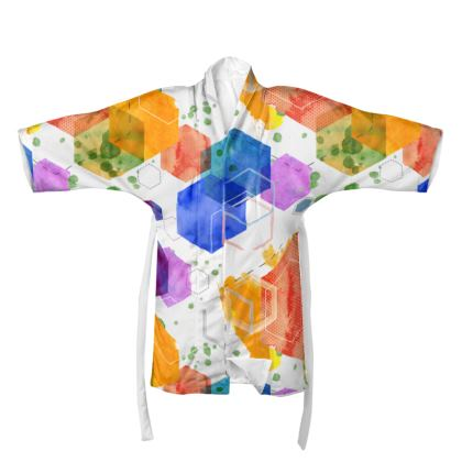 Watercolour Splash Geometric Kimono