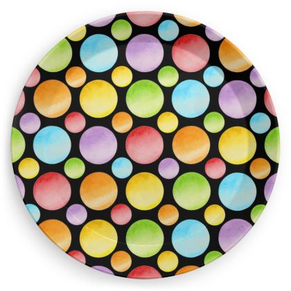 Rainbow Polka Dot Party Plates