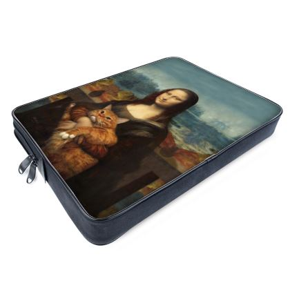 Mona Lisa and her Cat Laptop Bag horizontal