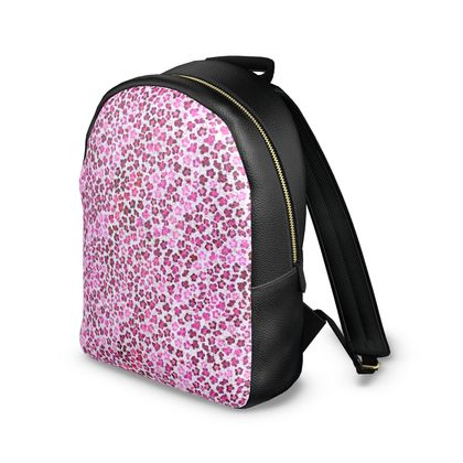 Leopard Skin in Magenta Collection Leather Backpack