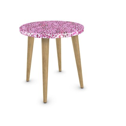 Leopard Skin in Magenta Collection Side Table