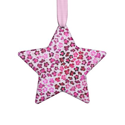 Leopard Skin in Magenta Collection Hand Made Flat Ornaments