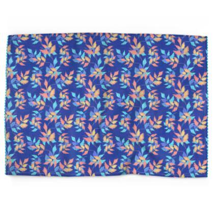 Tea Towels, Blue, Orange, Leaf  Slipstream  Almost Winter