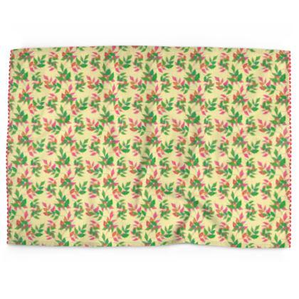 Tea Towels, Yellow, Green, Leaf  Slipstream  Mossy Heather