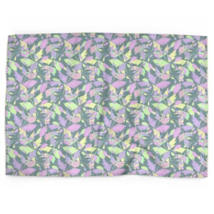 Tea Towels, Green Grey,  Botany  Diamond Leaves  Moonglow
