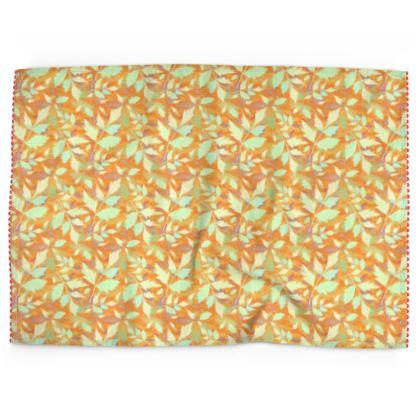 Tea Towels, Orange, Yellow, Leaf  Cathedral Leaves  Cornfield