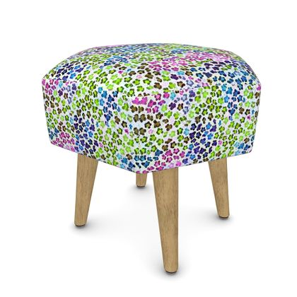 Leopard Skin Multicoloured Collection Footstool (Round, Square, Hexago