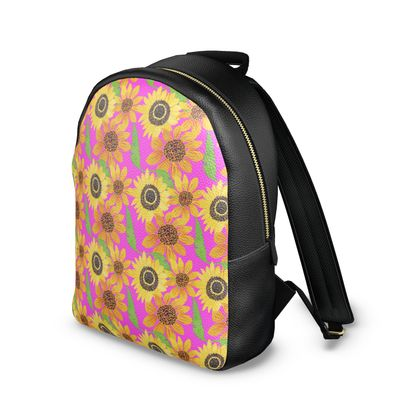 Naive Sunflowers On Fuchsia Leather Backpack