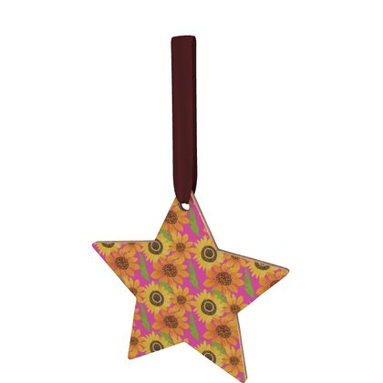 Naive Sunflowers On Fuchsia Wooden Christmas Decorations