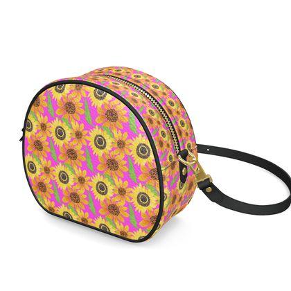 Naive Sunflowers On Fuchsia Round Box Bag
