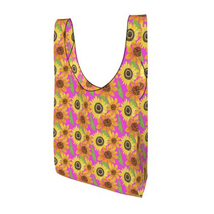 Naive Sunflowers On Fuchsia Parachute Shopping Bag