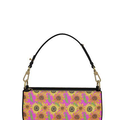 Naive Sunflowers On Fuchsia Zip Box Bag