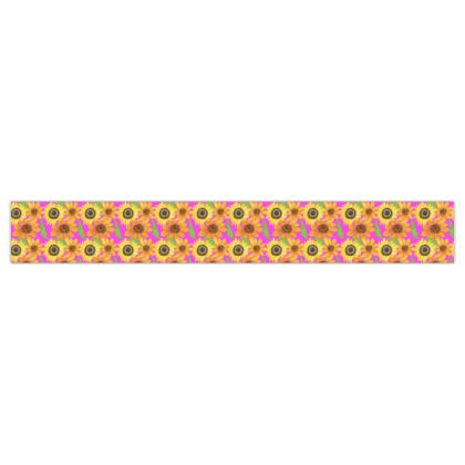 Naive Sunflowers On Fuchsia Printed Ribbon