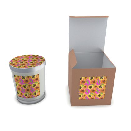 Naive Sunflowers On Fuchsia Set Candle In Glass
