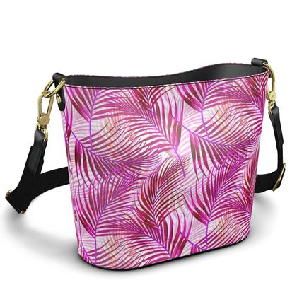 Tropical Garden in Magenta Collection Penzance Large Leather Bucket To