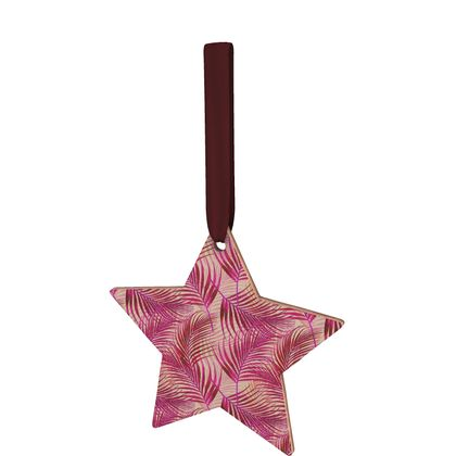 Tropical Garden in Magenta Collection Wooden Christmas Decorations
