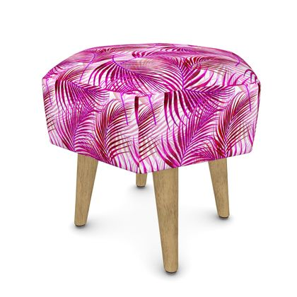 Tropical Garden in Magenta Collection Footstool (Round, Square, Hexago