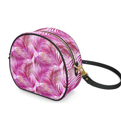 Tropical Garden in Magenta Collection Round Box Bag
