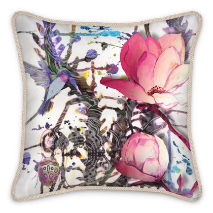 Ink-Weed / Pink Ink Silk Cushion