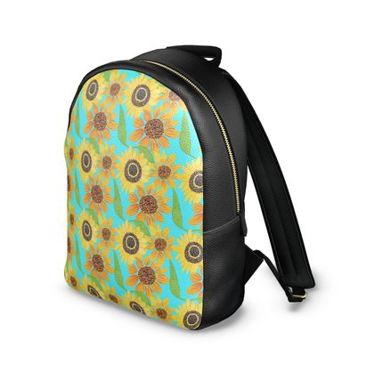 Naive Sunflowers On Turquoise Leather Backpack