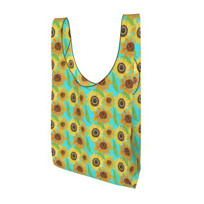 Naive Sunflowers On Turquoise Parachute Shopping Bag