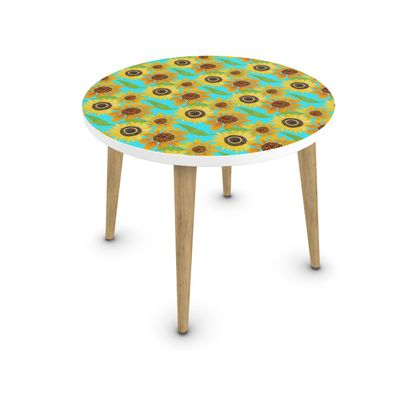 Naive Sunflowers On Turquoise Coffee Table