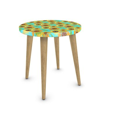 Naive Sunflowers On Turquoise Side Table