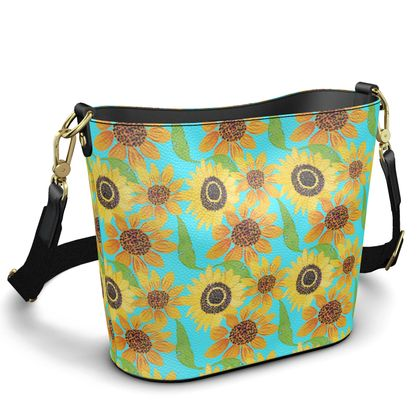 Naive Sunflowers On Turquoise Penzance Large Leather Bucket Tote