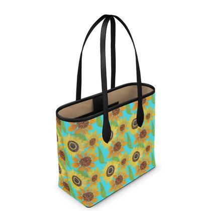 Naive Sunflowers On Turquoise Leather City Shopper