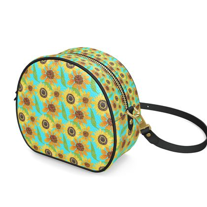Naive Sunflowers On Turquoise Round Box Bag