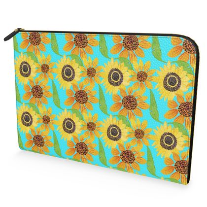 Naive Sunflowers On Turquoise Leather Document Case