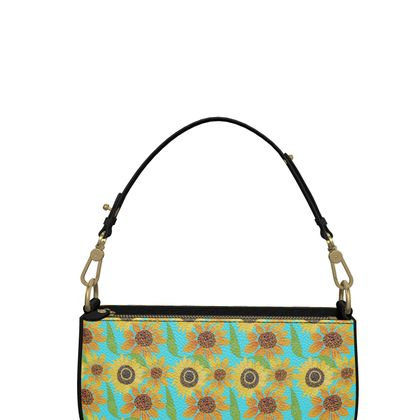 Naive Sunflowers On Turquoise Zip Box Bag