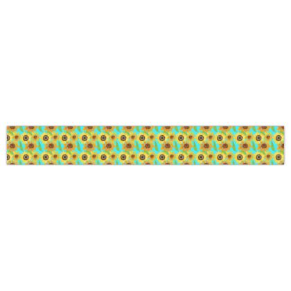 Naive Sunflowers On Turquoise Printed Ribbon