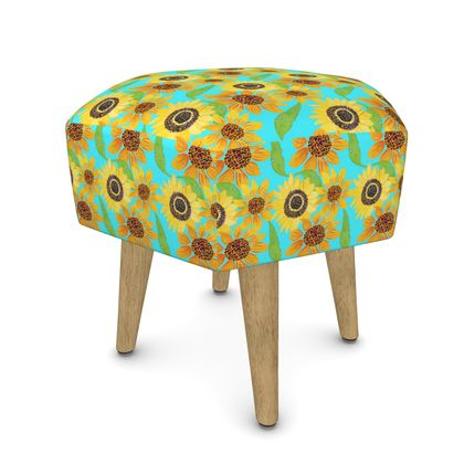 Naive Sunflowers On Turquoise Footstool (Round, Square, Hexagonal)