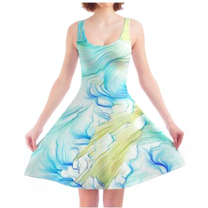 'Seaweed Memories' Generative Glitch Skater Dress