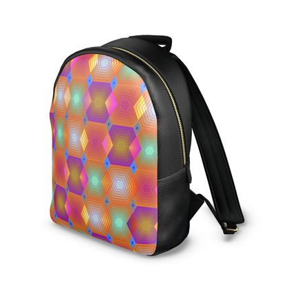 Geometrical Shapes Collection Leather Backpack