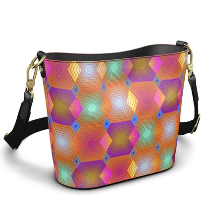Geometrical Shapes Collection Penzance Large Leather Bucket Tote