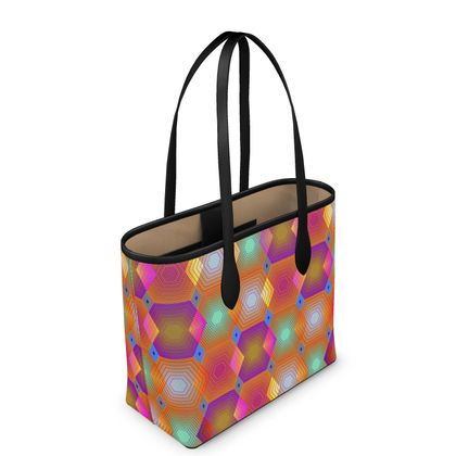 Geometrical Shapes Collection Leather City Shopper