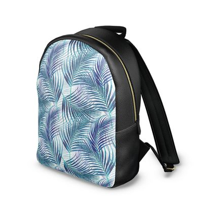 Tropical Garden in Blue Collection Leather Backpack