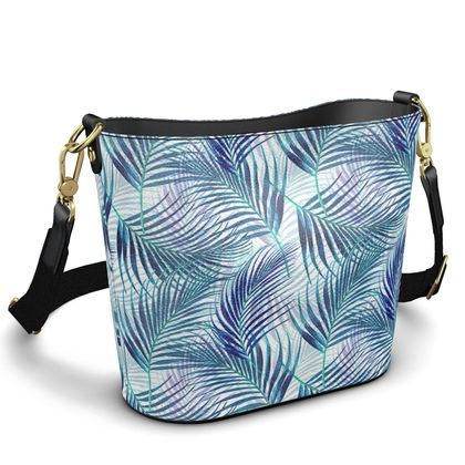 Tropical Garden in Blue Collection Penzance Large Leather Bucket Tote